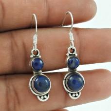 Graceful 925 Sterling Silver Lapis Gemstone Earring Jewellery