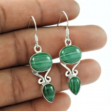 Stunning 925 Sterling Silver Malachite Gemstone Earring Jewellery