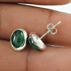 Dainty 925 Sterling Silver Green Onyx Gemstone Stud Earring Vintage Jewellery