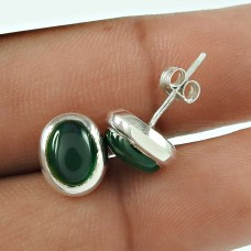 Good-Looking 925 Sterling Silver Green Onyx Gemstone Stud Earring Antique Jewellery