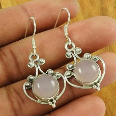 Amusable Rose Quartz Gemstone Earrings 925 Sterling Silver Jewellery