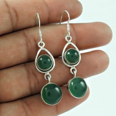Dainty 925 Sterling Silver Vintage Green Onyx Gemstone Earring Jewellery