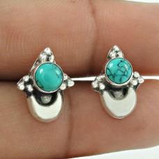 Beautiful Turquoise Gemstone 925 Sterling Silver Earrings Wholesaling