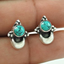 Awesome Turquoise Gemstone 925 Sterling Silver Earrings Wholesaler India