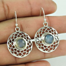 Excellent !! Rainbow Moon Stone 925 Sterling Silver Earrings Proveedor