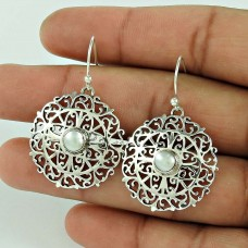 Artisan Work !! Pearl 925 Sterling Silver Earrings De gros