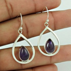 Stunning!! 925 Sterling Silver Amethyst Earrings Wholesaler