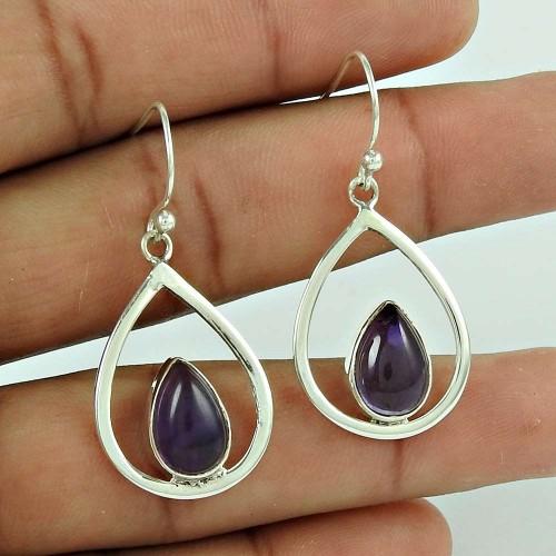 Stunning!! 925 Sterling Silver Amethyst Earrings Wholesaler
