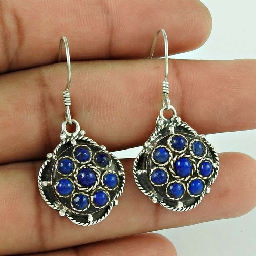 Classy Natural !! Lapis 925 Sterling Silver Earrings Supplier