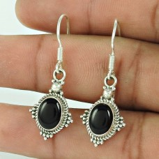 Cute !! Black Onyx 925 Sterling Silver Earrings Wholesaling