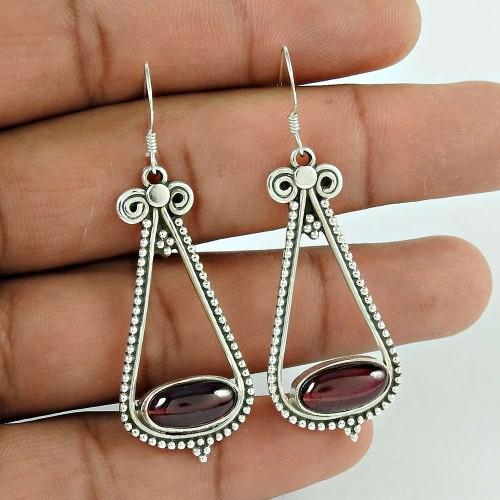 Deluxe ! 925 Sterling Silver Garnet Earrings Großhandel