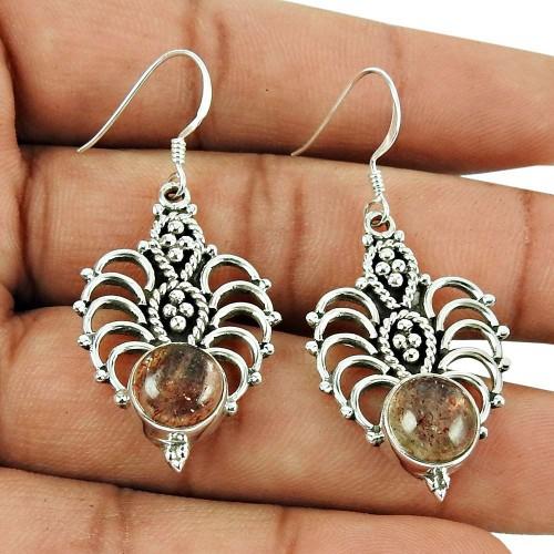Big Weaving Light!! 925 Sterling Silver Real Sunstone Earrings Großhändler
