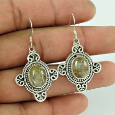 Bold Vintage Energetic!! 925 Sterling Silver Golden Rutile Earrings Hersteller