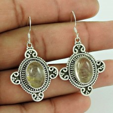 Bright Side!! 925 Sterling Silver Golden Rutile Earrings Wholesale
