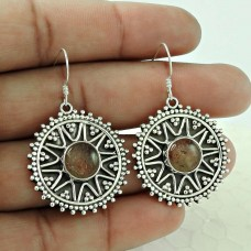 Royal Color !! Real Sunstone 925 Sterling Silver Earrings Wholesale Price