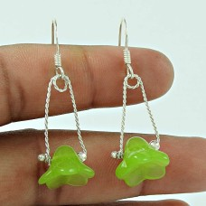 Daily Wear 925 Sterling Silver Prehnite Gemstone Earring Jewellery