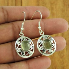 Graceful Prehnite Gemstone 925 Sterling Silver Earrings Handmade Jewellery
