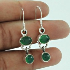 Designer 925 Sterling Silver Indian Green Onyx Gemstone Earring Jewellery