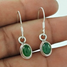 Lovely Indian Sterling Silver Green Onyx Gemstone Earring Jewellery