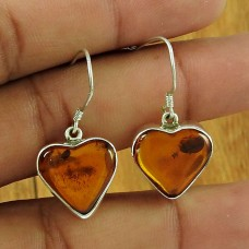 Heart Shape Amber Gemstone Earring 925 Sterling Silver Vintage Jewellery