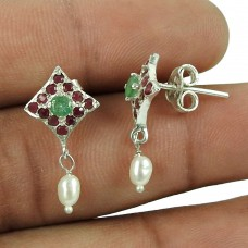 Excellent 925 Sterling Silver Ruby, Emerald Gemstone Stud Earrings