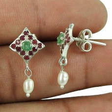 Beautiful 925 Sterling Silver Ruby, Emerald Gemstone Stud Earrings