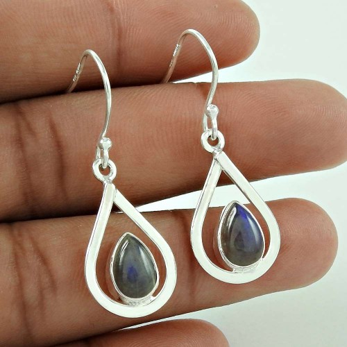 Traditional ! Labradorite Gemstone Silver Jewellery Earrings De gros