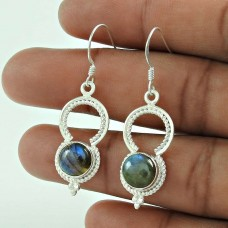 New Faceted! 925 Sterling Silver Blue Labradorite Earrings Grossiste