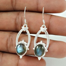 Lovely! 925 Sterling Silver Blue Labradorite Earrings Wholesale Price