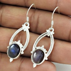 Excellent! 925 Sterling Silver Blue Labradorite Earrings Wholesaling