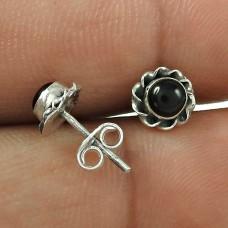 Big Natural Top ! 925 Sterling Silver Black Onyx Stud Earrings Wholesale Price