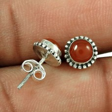 Big Excellent! 925 Sterling Silver Carnelian Stud Earrings Wholesale Price