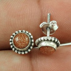 Big Relief Stone! 925 Sterling Silver Brown Sunstone Stud Earrings Mayorista