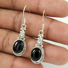 Handy Black Onyx Gemstone Sterling Silver Earrings Jewellery Wholesale Price