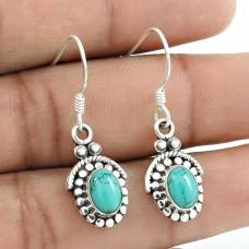 Captivating Turquoise Gemstone 925 Sterling Silver Earrings Supplier
