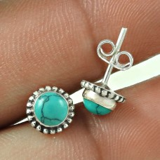 Royal Style Turquoise Gemstone Sterling Silver Stud Earrings Jewellery De gros