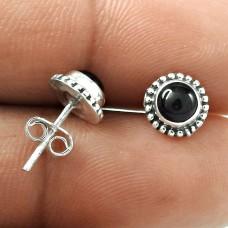 A Secret Black Onyx Gemstone Sterling Silver Stud Earrings Jewellery Grossiste