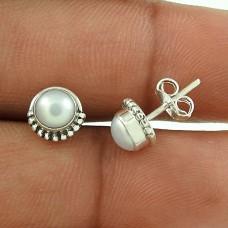 2017 New Design ! Pearl Sterling Silver Stud Earrings Jewellery Fabricante