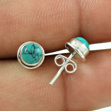 Before Time ! Turquoise Gemstone Sterling Silver Stud Earrings Jewellery Fabricant