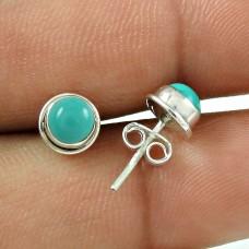 Big Natural Top ! Turquoise Gemstone Sterling Silver Stud Earrings Jewellery Großhändler