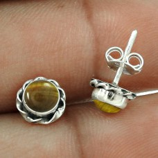 Hot Style ! Tiger Eye Gemstone Sterling Silver Stud Earrings Jewellery Wholesale Price
