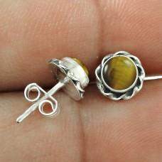 Melodious ! Tiger Eye Gemstone Sterling Silver Stud Earrings Jewellery Wholesaling