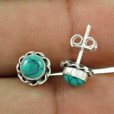 2017 New Design !! Turquoise Gemstone Sterling Silver Stud Earrings Jewellery Wholesaling