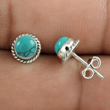 Bright Side !! Turquoise Gemstone Sterling Silver Stud Earrings Jewellery De gros