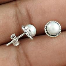 Fine !! Pearl Sterling Silver Stud Earrings Jewellery Fabricant