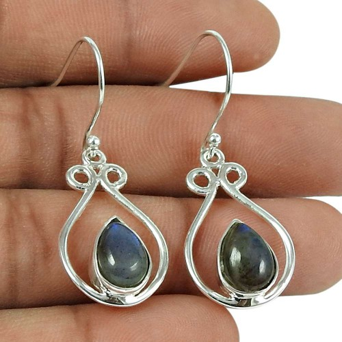 Graceful Labradorite Gemstone 925 Sterling Silver Earrings Jewellery