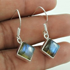 Pretty Labradorite Gemstone Dangle Earrings 925 Sterling Silver Gemstone Jewellery