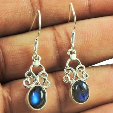 Personable Labradorite Gemstone Dangle Earrings 925 Silver Jewellery Manufacturer