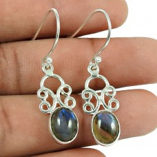 Scrumptious Labradorite Gemstone 925 Sterling Silver Earrings Jewellery