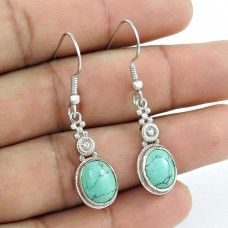 Rare Turquoise Gemstone Earrings 925 Sterling Silver Fashion Jewellery